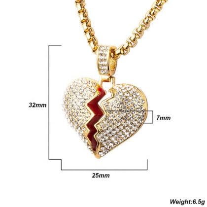 Lant placat aur inimioara zirconiu detalii