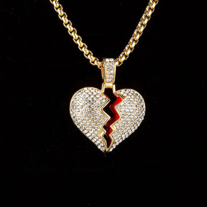 Lant placat aur inimioara zirconiu fata