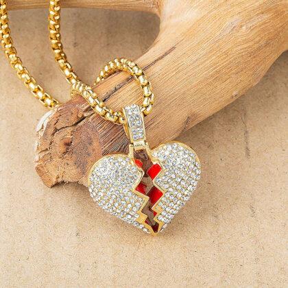 Lant placat aur inimioara zirconiu sus