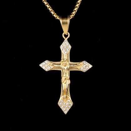 Lant placat aur zirconiu pantantiv cruce fata