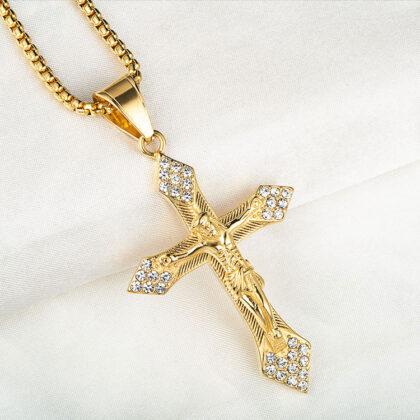 Lant placat aur zirconiu pantantiv cruce sus