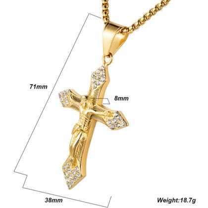 Lant placat aur zirconiu pantantiv cruce detalii