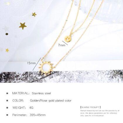 Lantisor dama placat aur pandantiv soare detalii