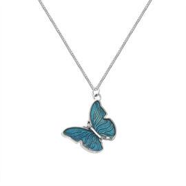 Lantisor fluturas albastru argint 925