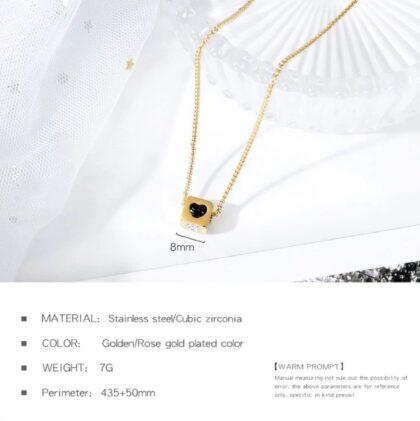 Lantisor placat aur pandantiv zar zirconiu detalii