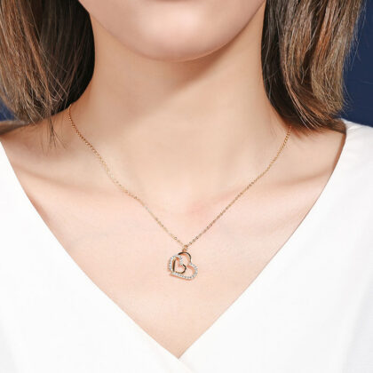 Colier argint 925 inimioare zirconiu placat aur
