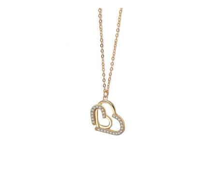 Colier argint 925 inimioare zirconiu placat aur fata