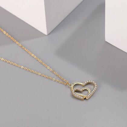 Colier argint 925 inimioare zirconiu placat aur sus