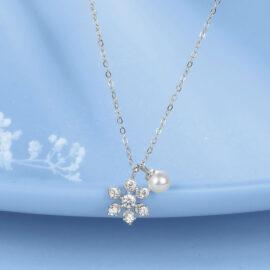Colier perla argint 925 steluta zirconiu
