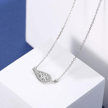 Lantisor argint 925 frunzulita zirconiu sus