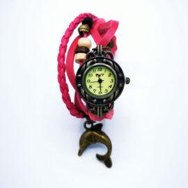 Ceas de mana cu bratari de piele roz si decoratiuni