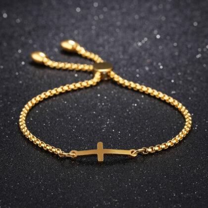 Bratara ajustabila cruciulita placata aur fata