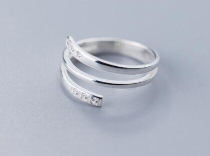 Inel argint 925 dublu zirconiu sus