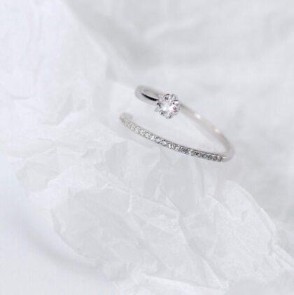 Inel zirconiu elegant argint 925 profil