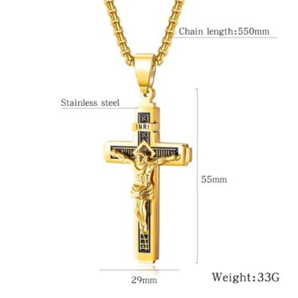 Lant placat aur barbati pandantiv cruce detalii