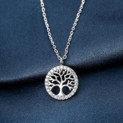 Lantisor argint 925 copacul vietii zirconiu fata