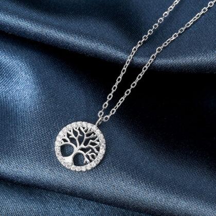 Lantisor argint 925 copacul vietii zirconiu sus