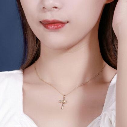 Lantisor cruciulita argint 925 placat aur model