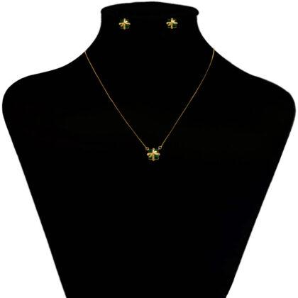 Set fundite cristale verzi placat aur model