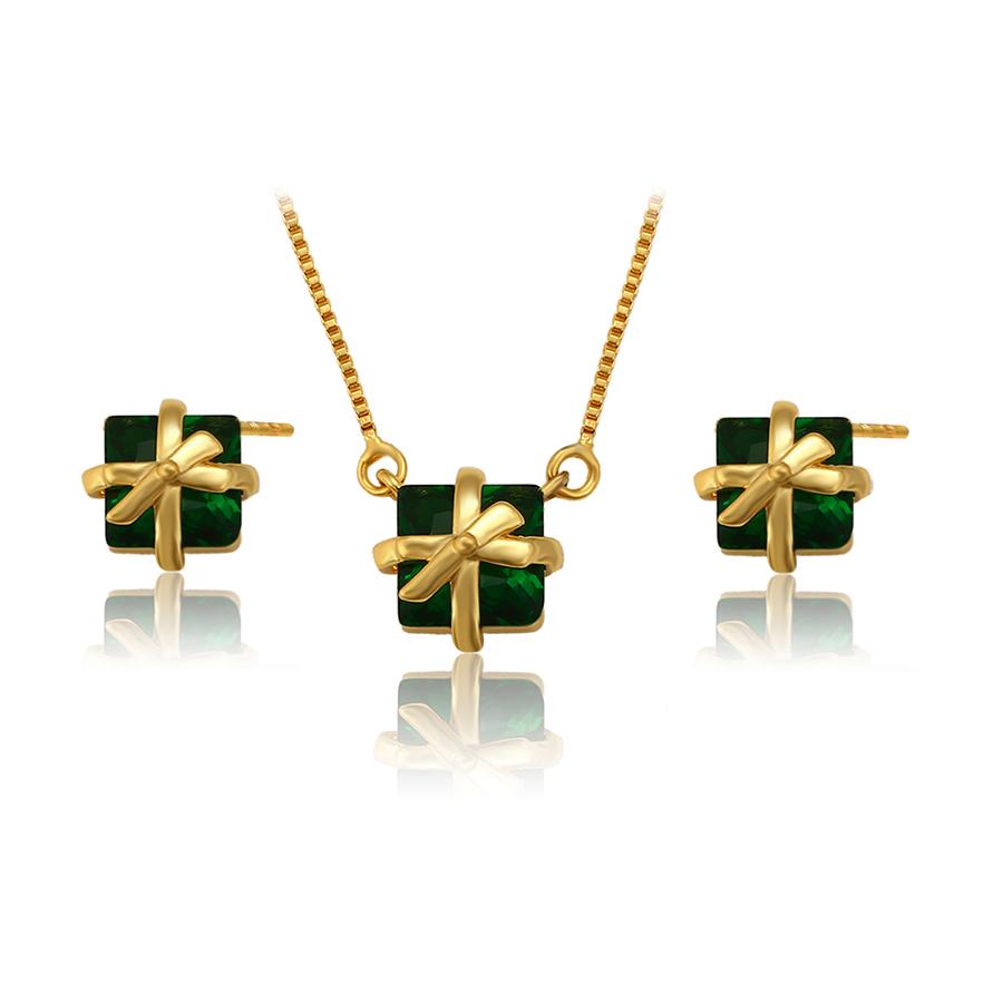 Set fundite cristale verzi placat aur