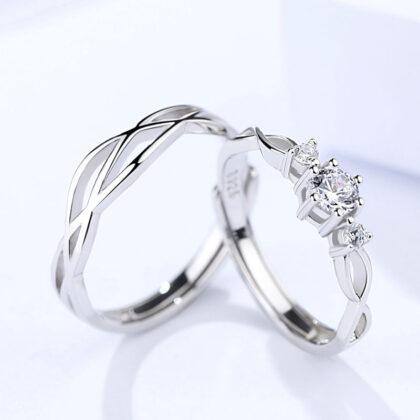 Inele cuplu deosebite argint 925 ajustabile fata