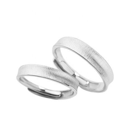 Inele cuplu gen verighete argint 925 ajustabile