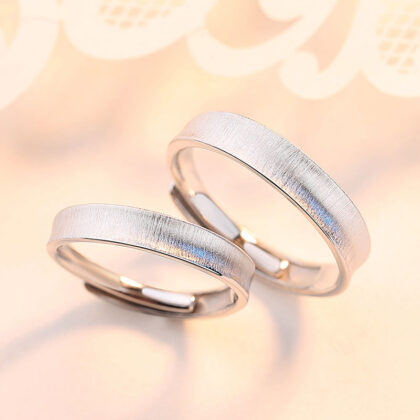 Inele cuplu gen verighete argint 925 ajustabile fata