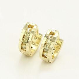 Cercei mici placati aur 14 K cristale verzi