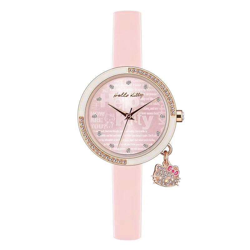Ceas fetite roz cu breloc