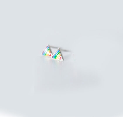 Cercei fetite multicolori triunghiuri argint 925