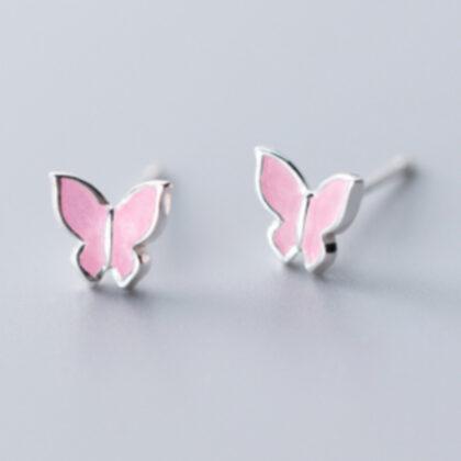 Cercei roz fluturasi argint 925