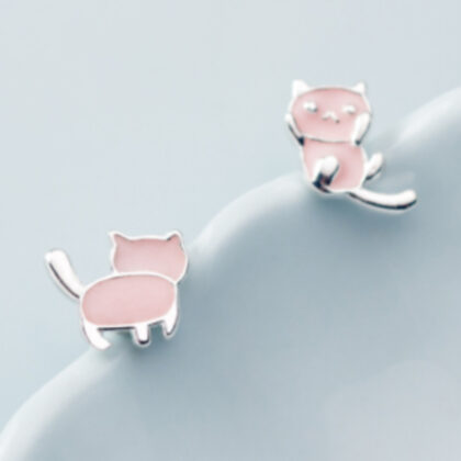 Cercei roz pisicute argint 925