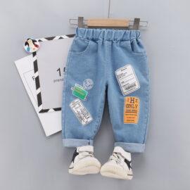 Pantaloni denim cu imprimeu