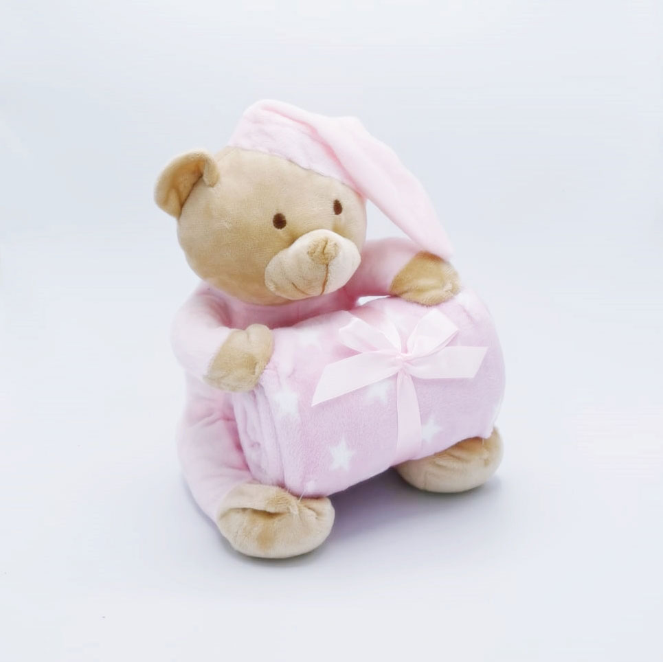 Set ursulet cu paturica roz