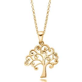 Colier argint 925 placat aur copacul vietii