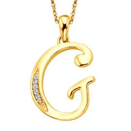 Colier argint 925 zirconiu initiala G placat aur